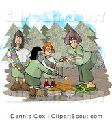 Clipart of Group of Girl Scouts Beside Campfire in the Forest by Dennis Cox