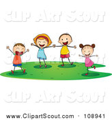 Clipart of Joyous Caucasian Children Playing by Graphics RF
