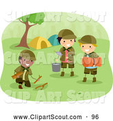 Clipart of Scout Boys Preparing Camp by BNP Design Studio