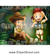 Clipart of Scout Children with Binoculars in the Woods by Graphics RF