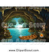Clipart of Scout Explorer Kids with a Boat and Fire in a Cave by Graphics RF