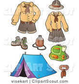 Clipart Of Scout Uniforms And Camping Gear Digital Collage By Visekart