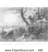 Clipart of the Arrival of Hendrick Hudson in the Bay of New York Painting, September 12, 1609 by JVPD
