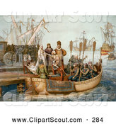 Clipart of the First Voyage of Christopher Columbus - Artwork by JVPD