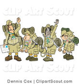 Clipart of Tired Scouts and Their Leaders Backpacking by Djart