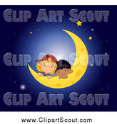 Clipart of White and Black Boys Resting on a Crescent Moon by Graphics RF