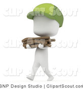 Vector Clipart of a 3D White Camper Boy Carrying a Stack of Kindling by BNP Design Studio