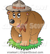 Vector Clipart of a Bear Scout Wearing a Hat by Visekart