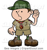 Vector Clipart of a Boy Scout Pledging the Oath by AtStockIllustration