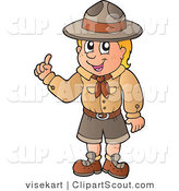 Vector Clipart of a Boy Scout with an Idea by Visekart