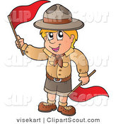 Vector Clipart of a Boy Scout with Red Flags by Visekart