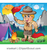 Vector Clipart of a Camping Boy Scout Waving a Flag over a Fire by Visekart