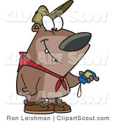 Vector Clipart of a Cartoon Hiking Bear Looking at a GPS Tool by Toonaday