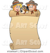Vector Clipart of a Rolled Banner Dog and Scouts by Visekart