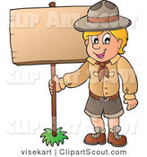 Vector Clipart of a Scout Boy Standing with a Wood Sign by Visekart