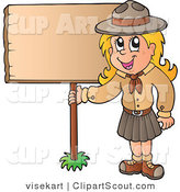 Vector Clipart of a Scout Girl Holding up a Blank Sign by Visekart