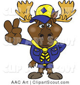 Vector Clipart of a Scout Moose Gesturing Peace by Dennis Holmes Designs