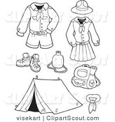 Vector Clipart of an Outlined Scout Clothing and Accessories by Visekart