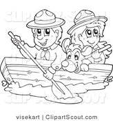 Vector Clipart of Black and White Scouts and Dog Boating by Visekart