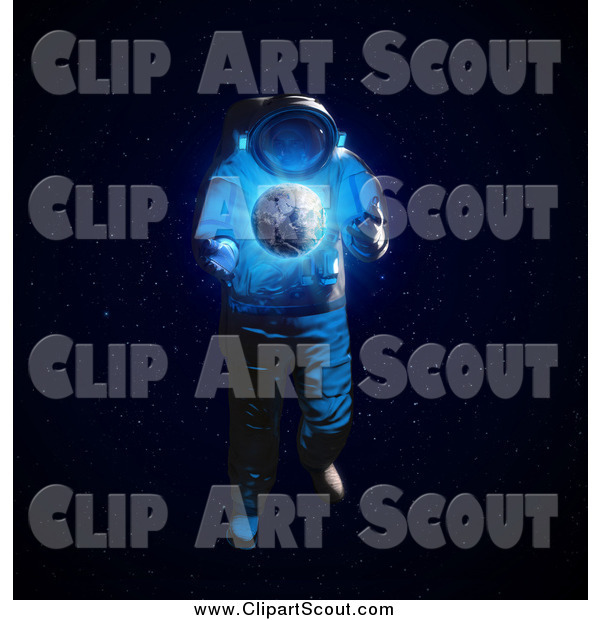 Clipart of a 3d Astronaut and Glowing Planet Earth