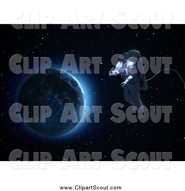 Clipart of a 3d Astronaut Doing a Space Walk with the Moon in the Distance