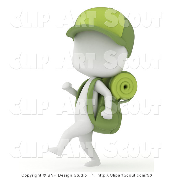 Clipart of a 3d Ivory Camper Boy Hiking with Gear and a Baseball Cap