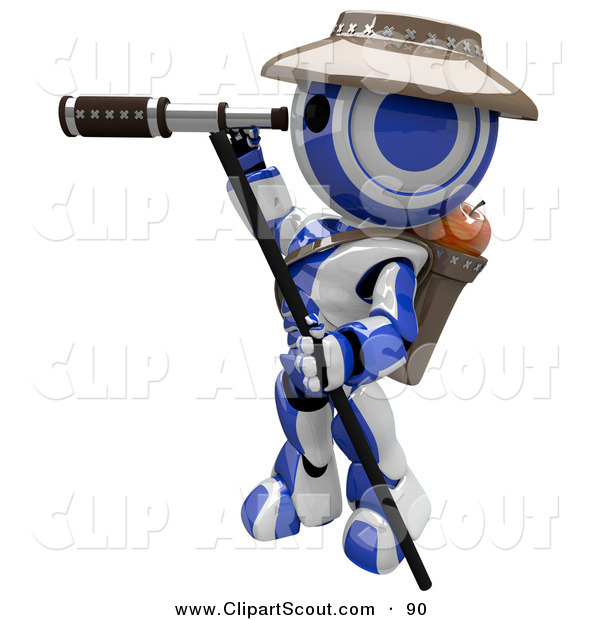 Clipart of a 3d Robot Scout Using a Telescope