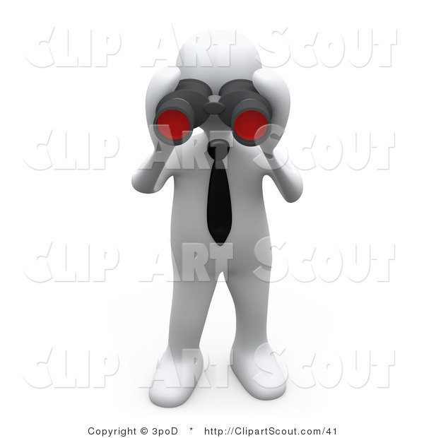 Clipart of a 3d White Person Looking Through a Pair of Binoculars