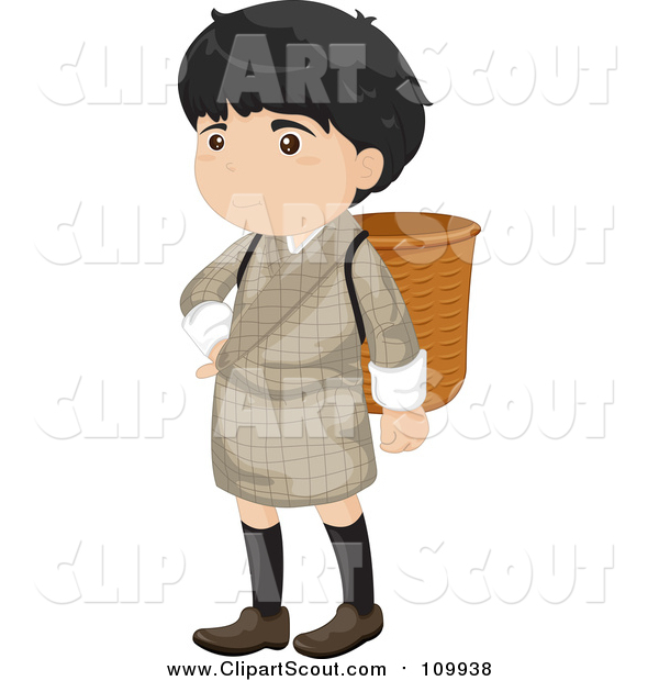 Clipart of a Bhutanese Boy in a Gho, with a Basket