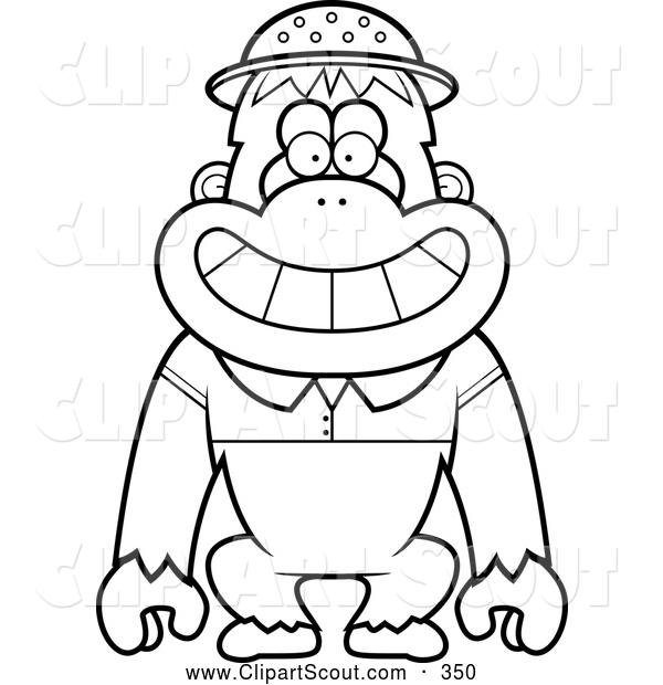 Clipart of a Black and White Coloring Page Outline of a Orangutan Monkey Explorer
