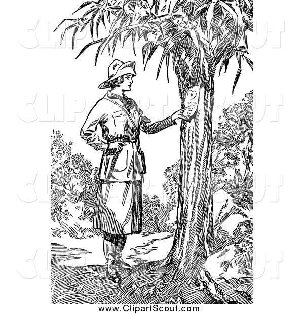 Clipart of a Black and White Explorer Woman Reading a Note on a Tree