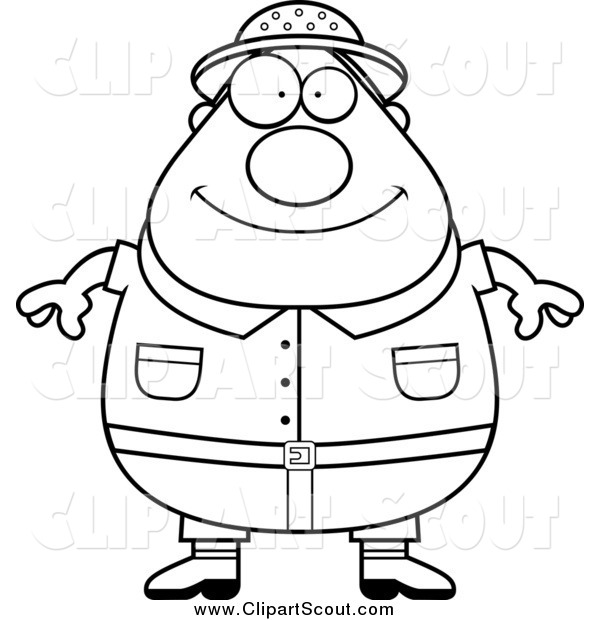 Clipart of a Black and White Fat Safari Man