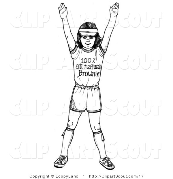 Clipart of a Black and White Girl Scout Brownie Holding Her Arms up