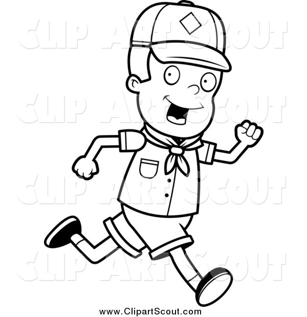 Clipart of a Black and White Happy Cub Scout Boy Running