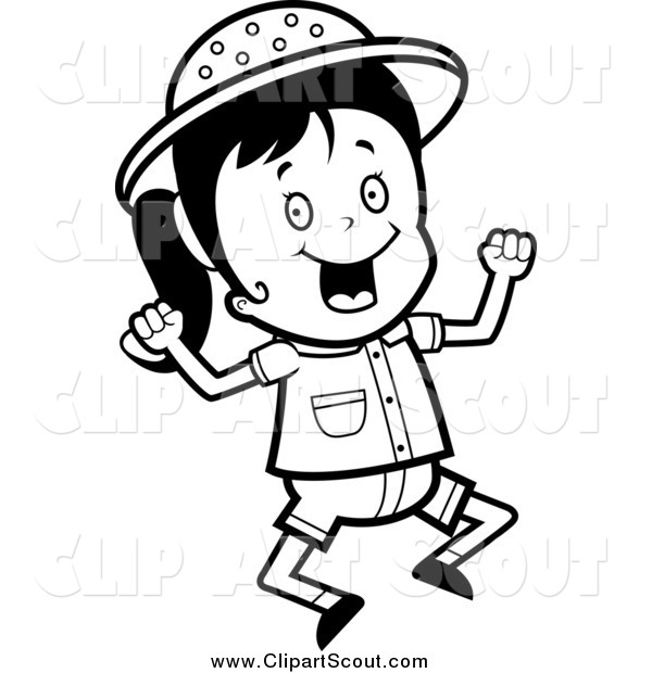 Clipart of a Black and White Jumping Happy Safari Girl