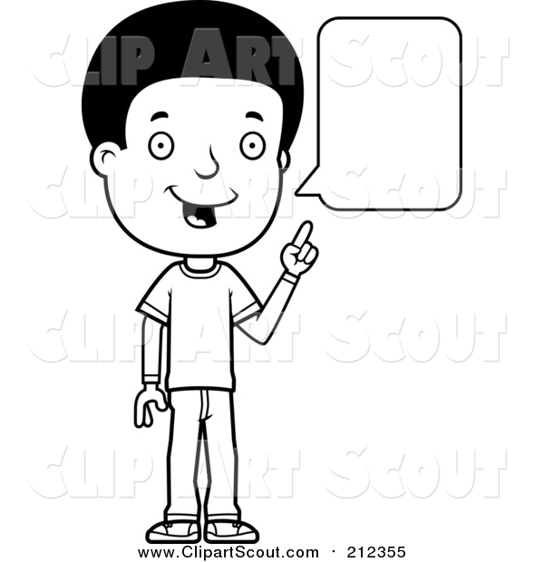 Clipart of a Black and White Lineart Adolescent Teenage Boy Talking