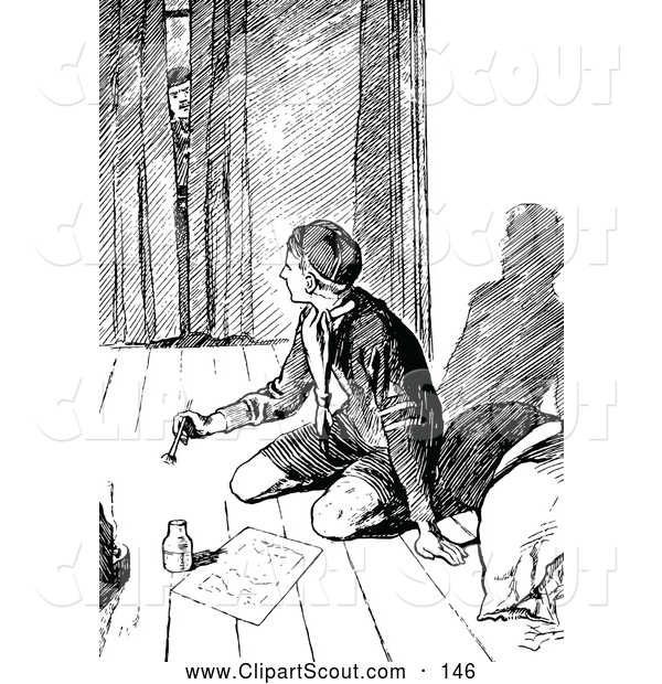 Clipart of a Black and White Man Peeking in at a Boy Scout Writing