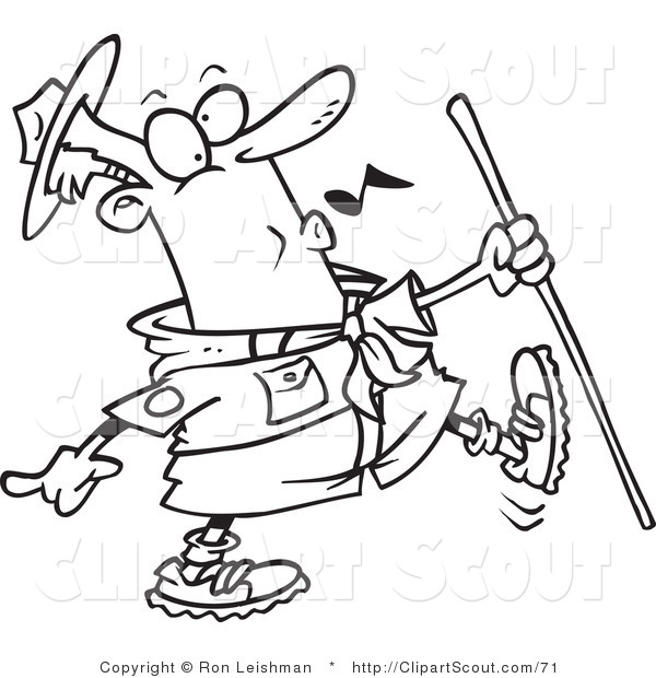 Clipart of a Black and White Outline of a Whistling Scout Master