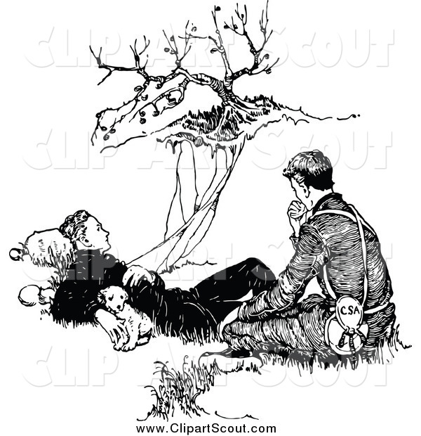 Clipart of a Black and White Pupy and Two Men Resting by a Cliff