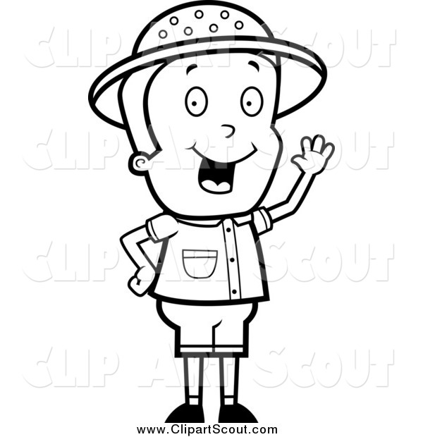 Clipart of a Black and White Safari Boy Waving