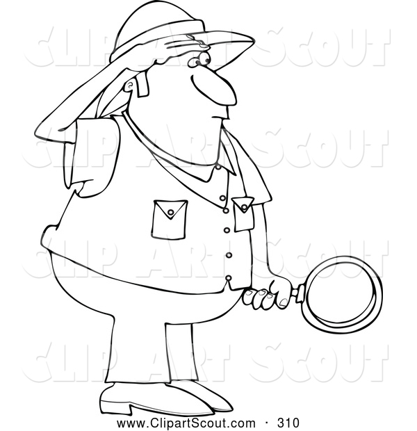 Clipart of a Black and White Safari Man Holding a Magnifying Glass