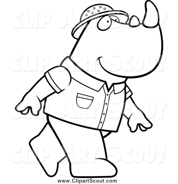 Clipart of a Black and White Safari Rhino Walking to the Right