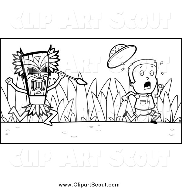 Clipart of a Black and White Scared Scout Boy Kid Running from a Tribal Man with a Spear