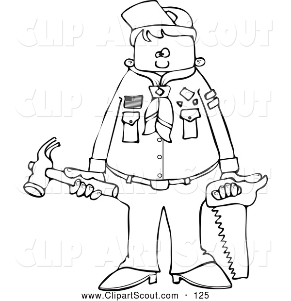 Clipart of a Black and White Scout Boy Holding Tools