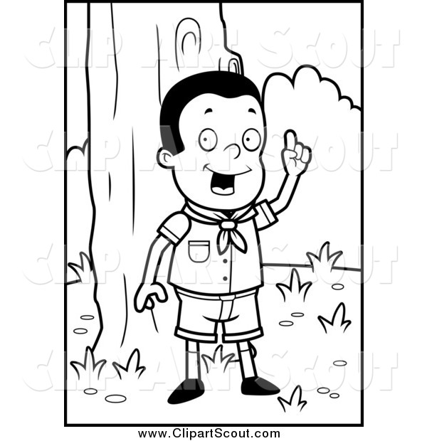 Clipart of a Black and White Smart Cub Scout Boy in the Woods