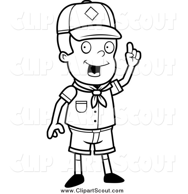 Clipart of a Black and White Smart Cub Scout Boy with an Idea