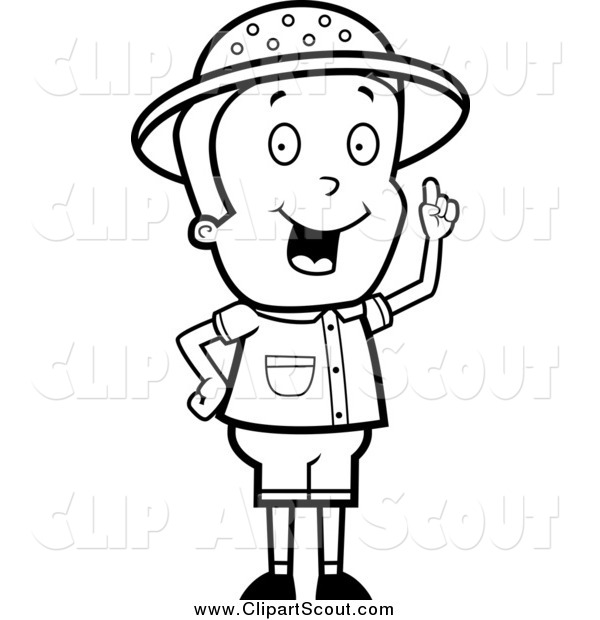 Clipart of a Black and White Smart Safari Boy Holding up a Finger and Expressing an Idea