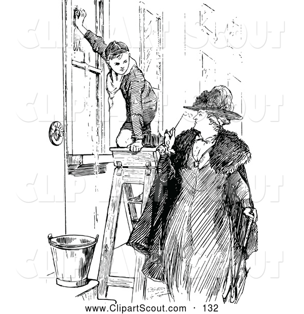 Clipart of a Black and White Woman Looking at a Boy Scout Washing Windows