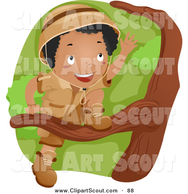 Clipart of a Black Scout Boy Climbing a Tree