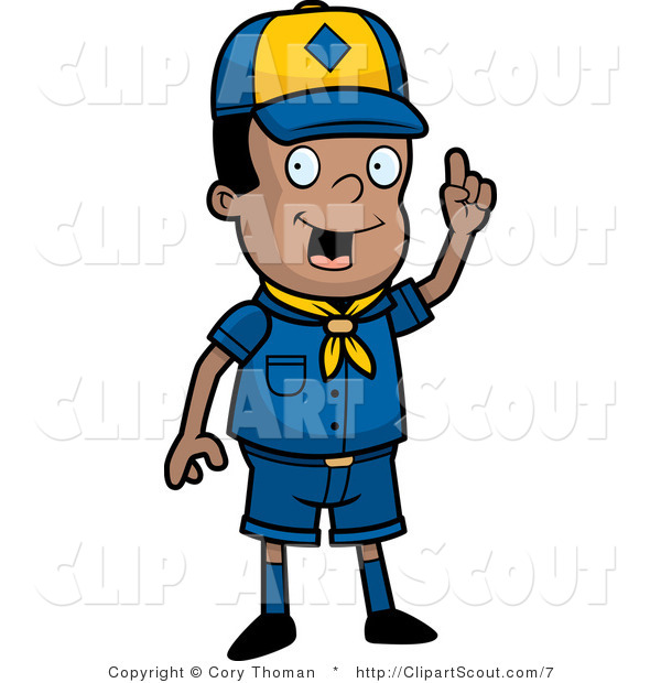 Clipart of a Black Scout Boy with an Idea Holding up a Finger